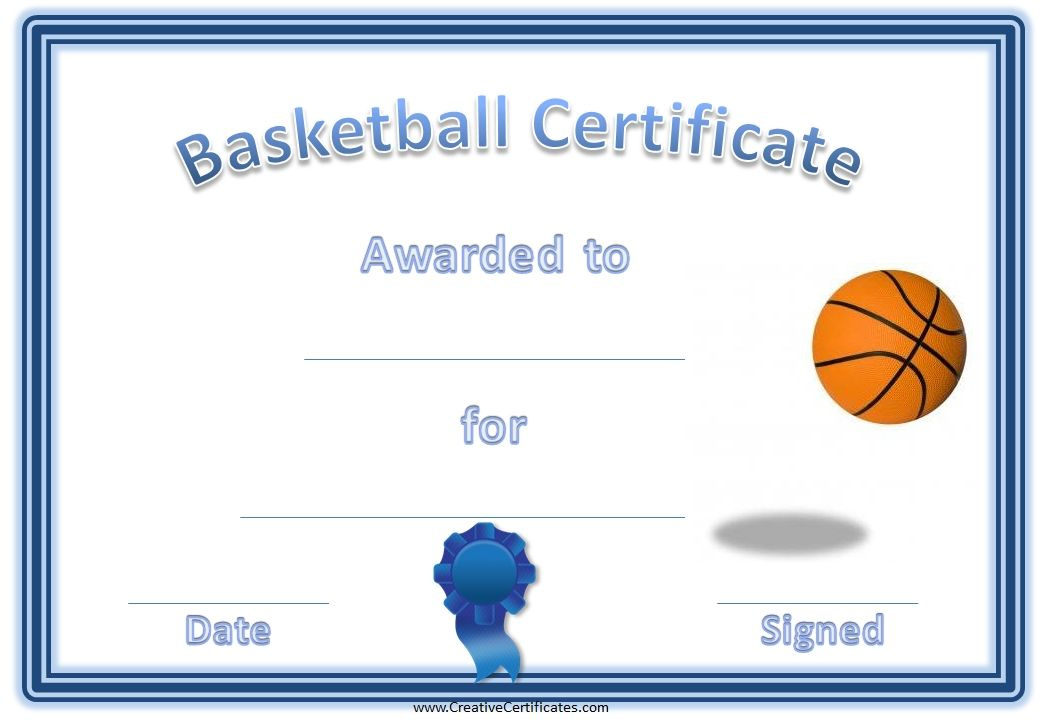 Basketball Award Certificate | Basketball Awards, Free in New Download 7 Basketball Participation Certificate Editable Templates