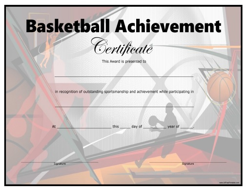 Basketball Certificate - Free Printable - Allfreeprintable with regard to Download 7 Basketball Participation Certificate Editable Templates