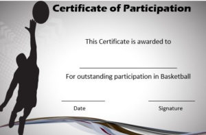 Basketball Certificate Of Participation | Basketball Games in Basketball Gift Certificate Template