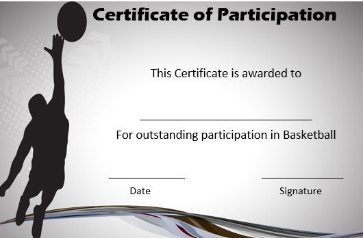 Basketball Certificate Of Participation   Basketball Games in Basketball Gift Certificate Template