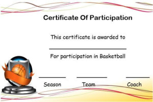 Basketball Certificate Of Participation Template with Best Basketball Participation Certificate Template