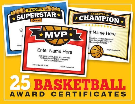 Basketball Certificates Editable - 25 Award Templates – Kid Certificates,  Basketball Awards, Certificate Templates, Girls Basketball, Boys pertaining to Unique Download 10 Basketball Mvp Certificate Editable Templates
