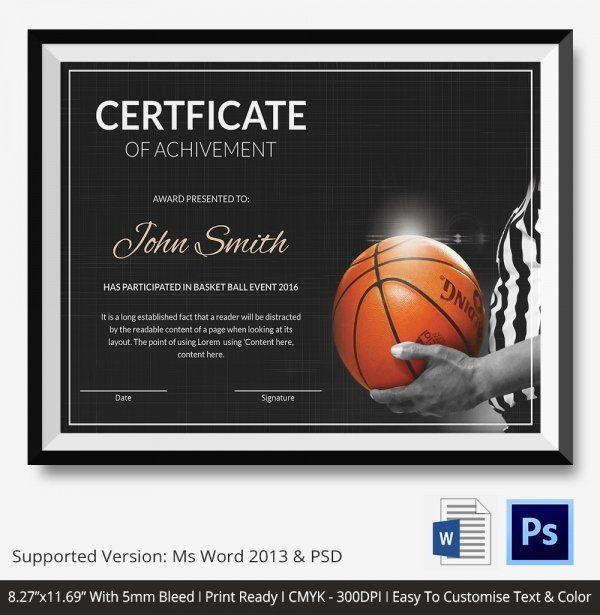 Basketball Certificates Free Download Elegant Basketball For Baseball Certificate Template Free 14 Award Designs