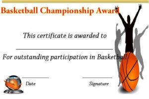 Basketball Championship Certificate | Basketball for Unique Basketball Tournament Certificate Template Free