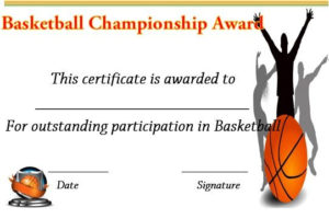 Basketball Championship Certificate | Basketball pertaining to Basketball Tournament Certificate Templates