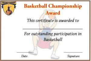 Basketball Championship Certificate Template | Certificate for Certificate Of Championship