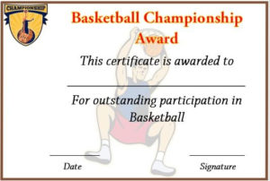 Basketball Championship Certificate Template | Certificate throughout Unique Basketball Tournament Certificate Template Free