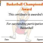 Basketball Championship Certificate Template   Certificate Within Basketball Tournament Certificate Templates