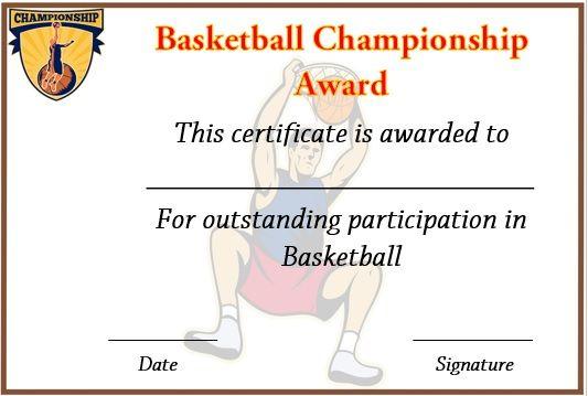 Basketball Championship Certificate Template | Certificate within Basketball Tournament Certificate Templates