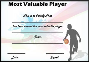Basketball Mvp Certificate Template | Certificate Templates intended for New Download 7 Basketball Participation Certificate Editable Templates