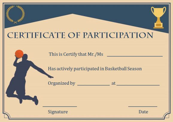 Basketball Participation Certificate: 10+ Free Downloadable regarding 10 Sportsmanship Certificate Templates Free