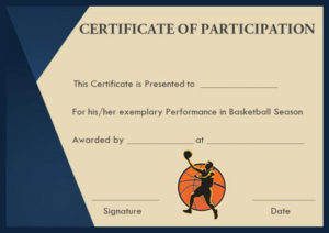 Basketball Participation Certificate: 10+ Free Downloadable within Basketball Participation Certificate Template