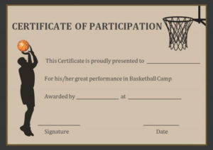 Basketball Participation Certificate Free Printable for Unique Basketball Tournament Certificate Template Free