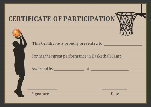 Basketball Participation Certificate Free Printable throughout New Basketball Tournament Certificate Templates