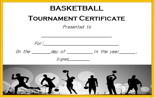 Basketball Tournament Certificate Template | Certificate In Basketball Tournament Certificate Template