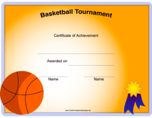 Basketball Tournament Printable Certificate regarding Basketball Tournament Certificate Templates