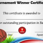 Basketball Tournament Winner Certificate   Basketball Awards Inside New Basketball Tournament Certificate Templates