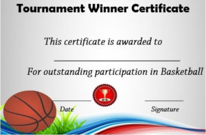 Basketball Tournament Winner Certificate | Basketball Awards within Fresh Basketball Tournament Certificate Template