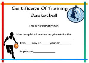 Basketball Training Certificate Template | Certificate for Fresh Basketball Camp Certificate Template