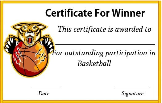 Basketball Winner Certificate | Templates Printable Free throughout New Baby Shower Game Winner Certificate Templates