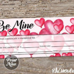 Be Mine, Printable Gift Certificate Template, Valentine'S For Valentine Gift Certificate Template