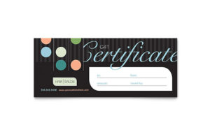 Beauty & Hair Salon Gift Certificate Template Design Inside Free Printable Beauty Salon Gift Certificate Templates