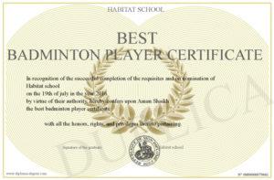 Best-Badminton-Player-Certificate for New Badminton Achievement Certificates