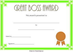 Best Boss Ever Certificate Free Printable (3Rd Design) In regarding Worlds Best Boss Certificate Templates Free