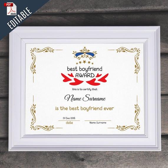 Best Boyfriend Award Editable Template Editable Best Boyfriend Award  Druckbare Beste Boyfriend Vorlage Pdf Instant Download 066-42 regarding Best Boyfriend Certificate Template