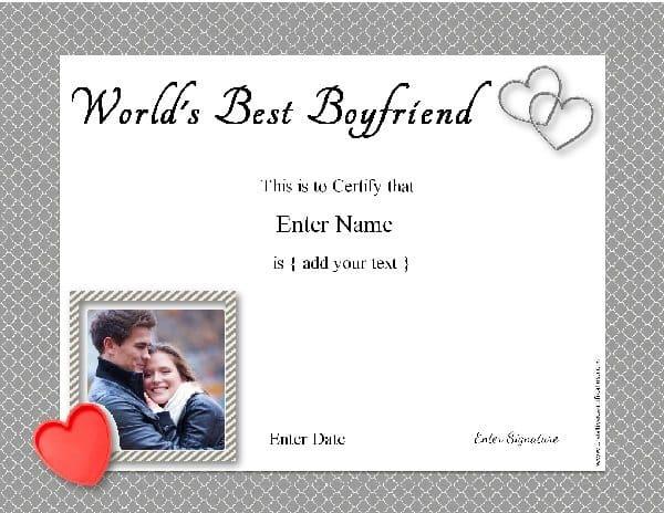 Best Boyfriend Award - Free Customization with regard to New Best Boyfriend Certificate Template