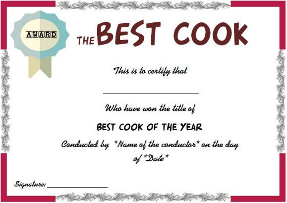 Best Cook Certificate | Certificate Templates, Certificate for New Cooking Contest Winner Certificate Templates