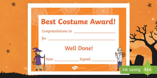 Best Costume Award Halloween Certificate (Teacher Made) with Halloween Costume Certificate