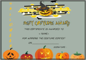 Best Costume Award Template | Certificate Templates, Cool in Halloween Costume Certificate Template