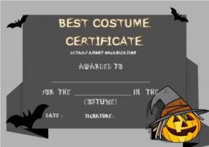 Best Costume Certificate Template | Certificate Templates inside Halloween Costume Certificate Template