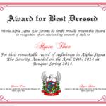 Best Dressed Award Certificate Colorful | Award Certificates With Fresh Best Dressed Certificate