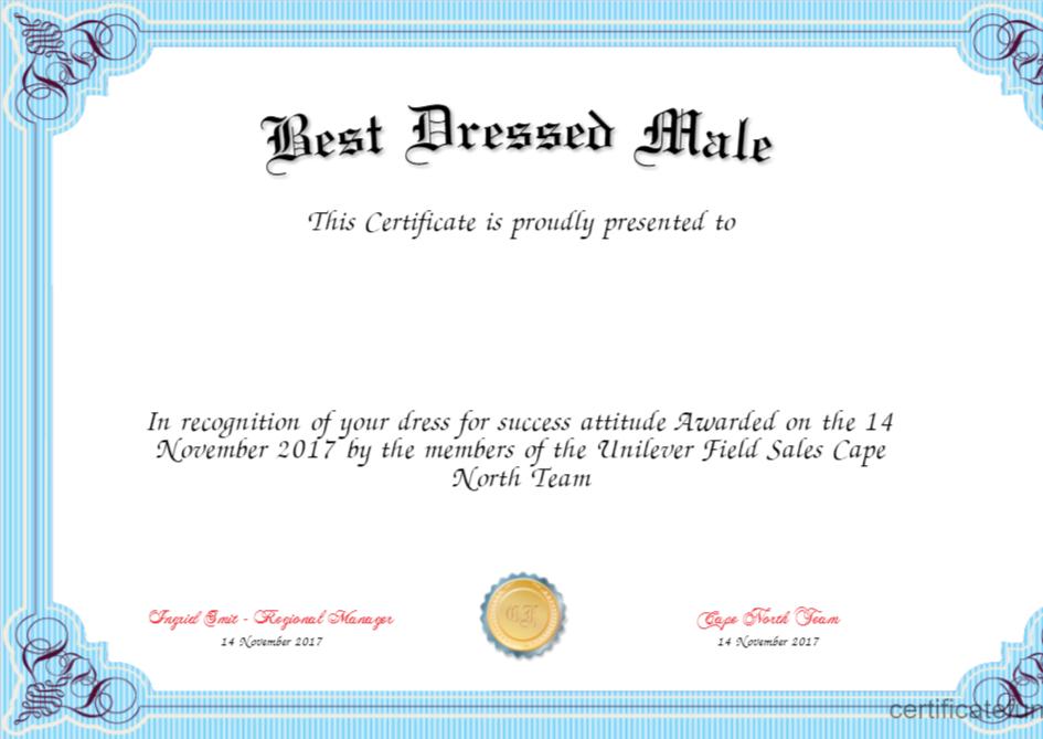 Best Dressed Award Certificate – Fashion Dresses inside Fresh Best Dressed Certificate