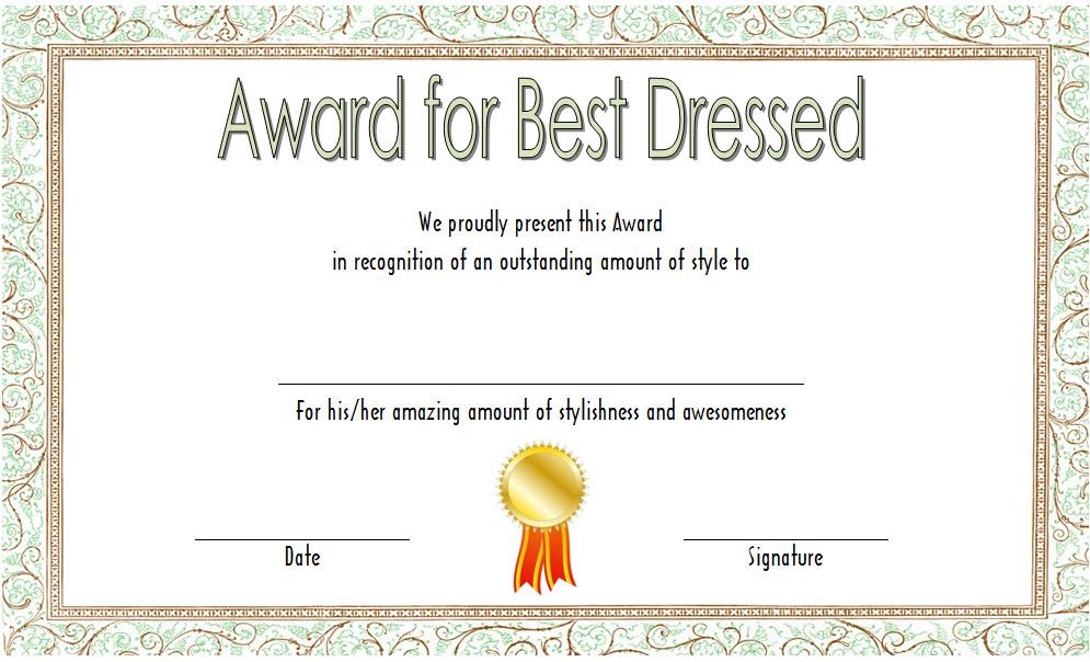 Best Dressed Award Certificate Template Free (Costume for Best Dressed Certificate