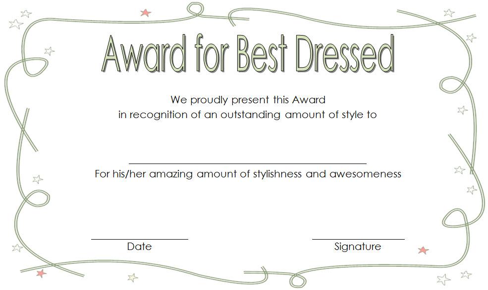 Best Dressed Award Certificate Template Free For Kids Throughout Best Dressed Certificate