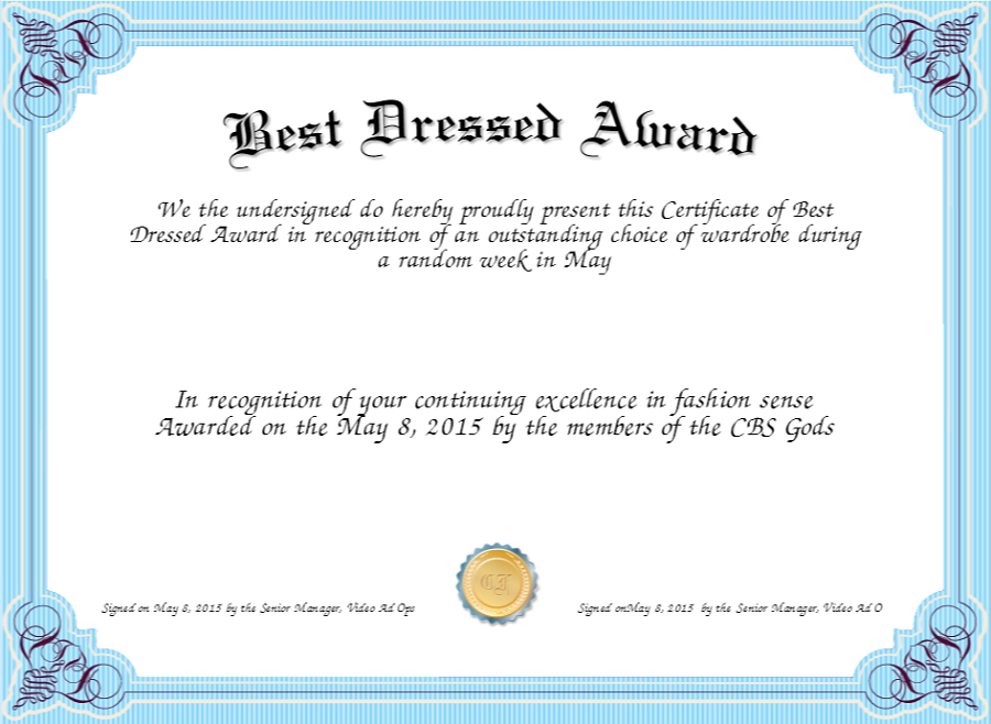 Best Dressed Award Certificates Printable | Activity Shelter pertaining to New Best Dressed Certificate Templates