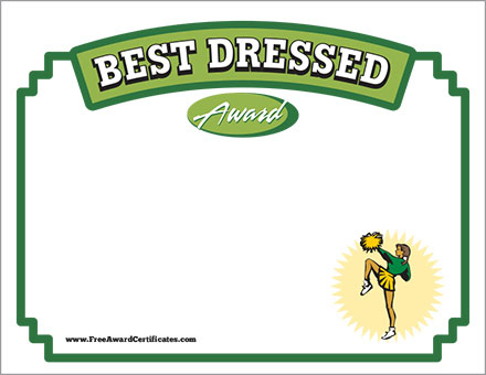 Best Dressed Certificate - Cheerleading Award Templates pertaining to New Best Dressed Certificate Templates