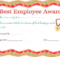 Best Employee Award Certificate | Employee Awards, Employee for New Best Employee Award Certificate Templates