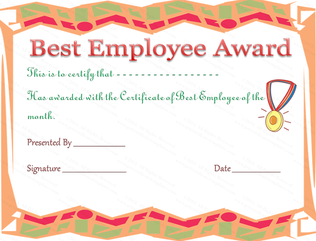Best Employee Award Certificate | Employee Awards, Employee intended for Quality Best Employee Certificate Template