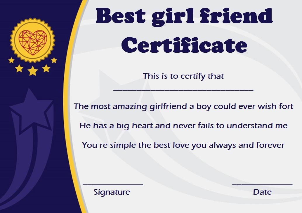 Best Friend: Best Friend Award Template for Quality Best Girlfriend Certificate 10 Love Templates
