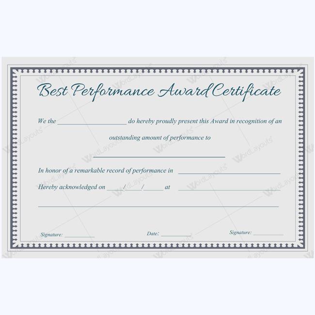 Best Performance Award Certificate 08 - Word Layouts | Award in Best Performance Certificate Template