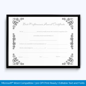 Best Performance Award Certificate 12 – Word Layouts throughout Best Performance Certificate Template