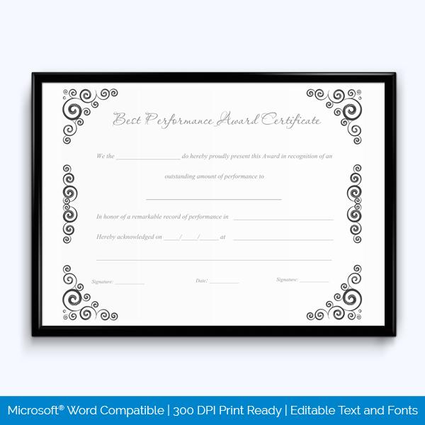 Best Performance Award Certificate 12 - Word Layouts throughout Best Performance Certificate Template
