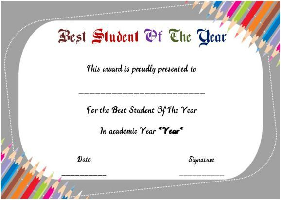 Best Student Of The Year Award Certificate | Student regarding Student Of The Year Award Certificate Templates