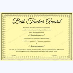 Best Teacher Award 06 – Word Layouts | Teacher Awards, Award pertaining to New Best Teacher Certificate Templates
