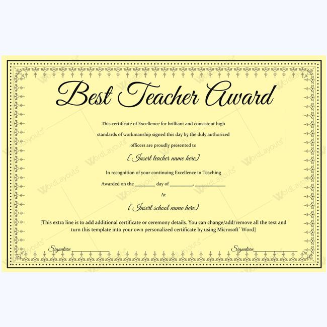 Best Teacher Award 06 - Word Layouts | Teacher Awards, Award pertaining to New Best Teacher Certificate Templates