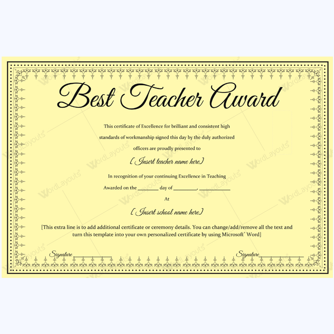 Best Teacher Award 06 - Word Layouts | Teacher Awards, Award throughout New Best Teacher Certificate